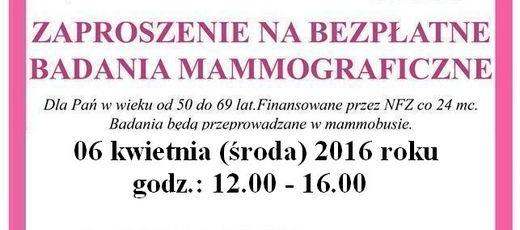 Bezpłatne badania mammograficzne w Niedrzwicy Dużej - 06.04.2016