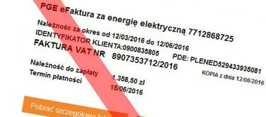 Ostrzeżenie przed fałszywymi elektronicznymi fakturami za prąd