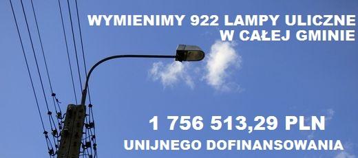 Kolejny projekt unijny naszej gminy oceniony pozytywnie – dostaliśmy 1 756 513, 29 PLN na modernizację oświetlenia ulicznego